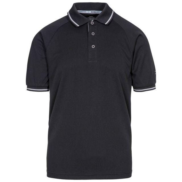 Bonington Men's Quick Dry Polo Shirt in Black, Front view on mannequin