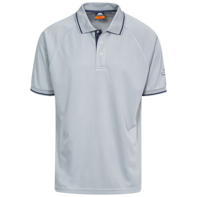 Bonington Men's Quick Dry Polo Shirt in Grey, Front view on mannequin