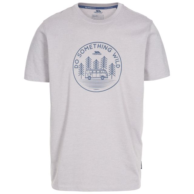 Bothesford Men's Printed T-Shirt in Grey, Front view on mannequin