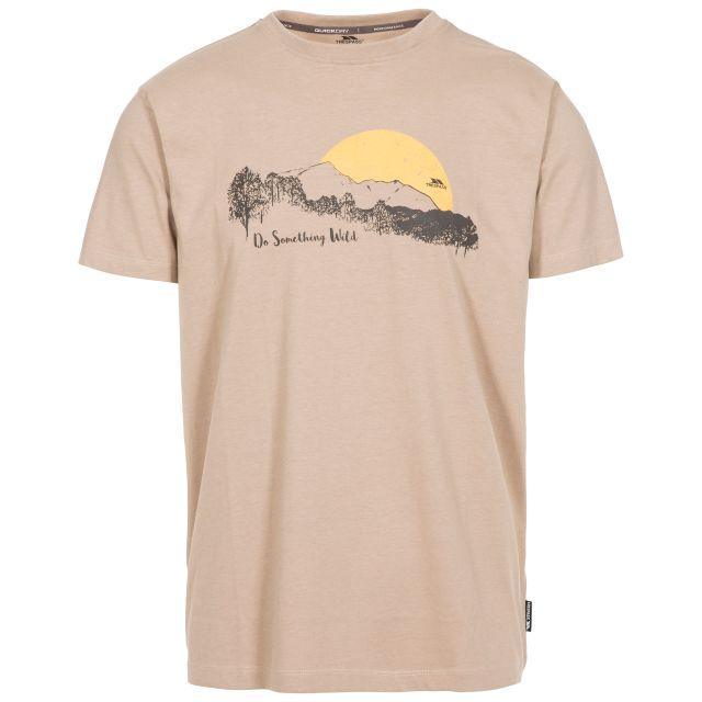 Bredonton Men's Printed T-Shirt in Beige, Front view on mannequin