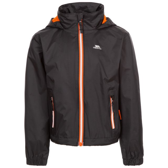 Trespass Kids Waterproof Jacket with Hood Breathable Briar Black, Front view on mannequin