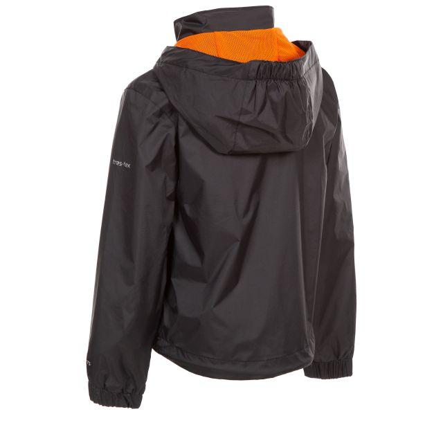 Trespass Kids Waterproof Jacket with Hood Breathable in Black Briar
