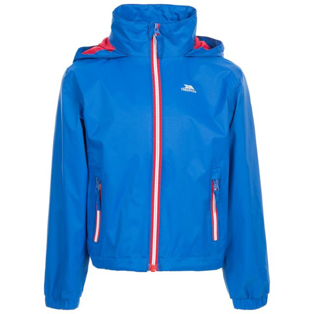 Trespass Kids Waterproof Jacket with Hood Breathable Briar Blue, Front view on mannequin