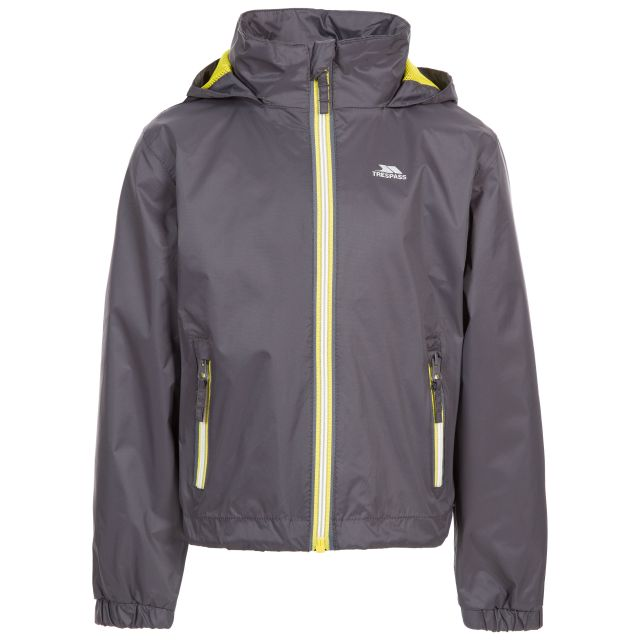 Trespass Kids Waterproof Jacket with Hood Breathable Briar Carbon, Front view on mannequin