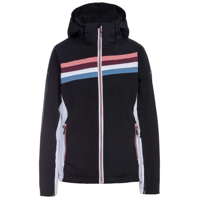Trespass Womens Ski Jacket Waterproof Broadcast in Black, Front view on mannequin