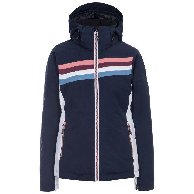 Trespass Womens Ski Jacket Waterproof Broadcast in Navy, Front view on mannequin