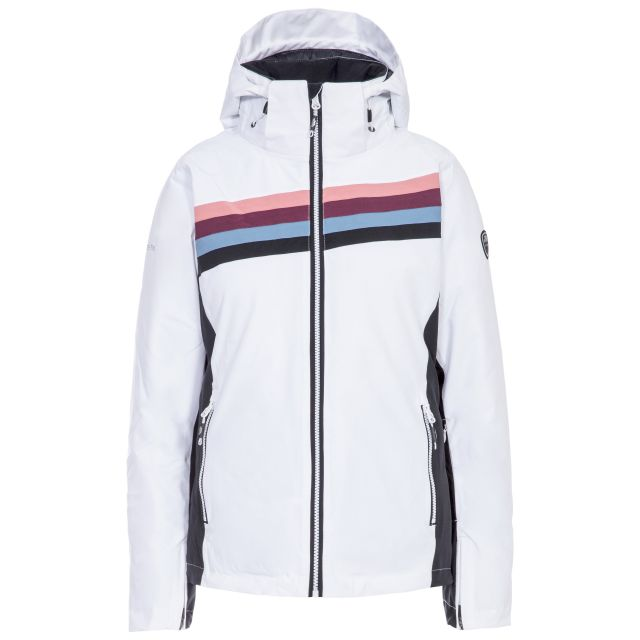 Trespass Womens Ski Jacket Waterproof Broadcast in White, Front view on mannequin