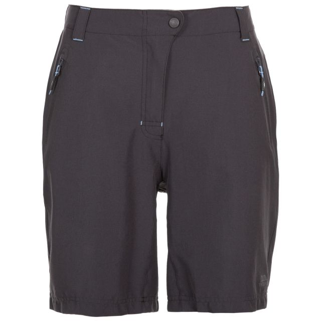 Brooksy Women's Quick Dry Active Shorts in Dark Grey, Front view on mannequin
