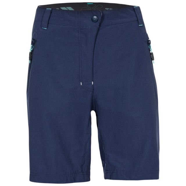 Brooksy Women's Quick Dry Active Shorts in Navy, Front view on mannequin