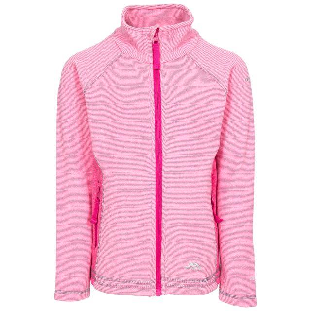 Bunker Kids' Full Zip Fleece Jacket in Pink, Front view on mannequin