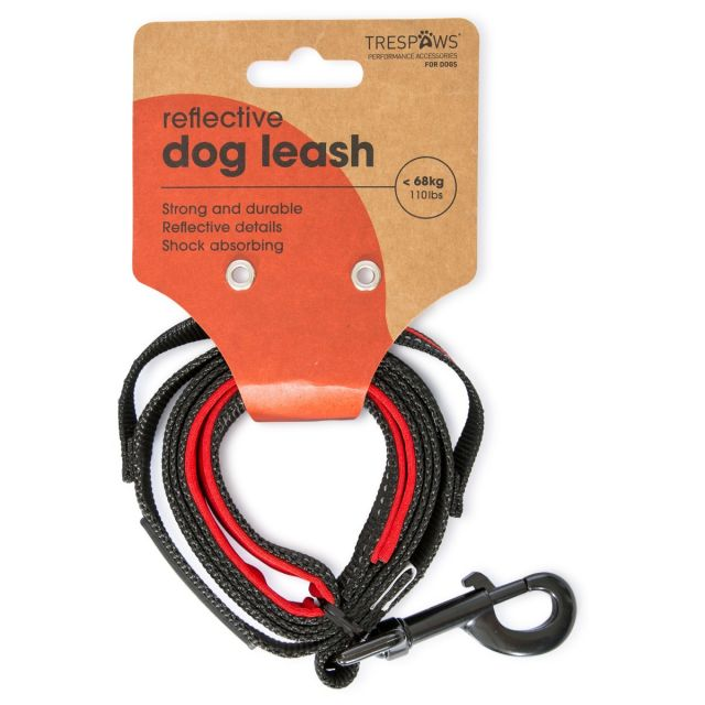 Buster Trespaws Reflective Padded Dog Lead in Red, Front view