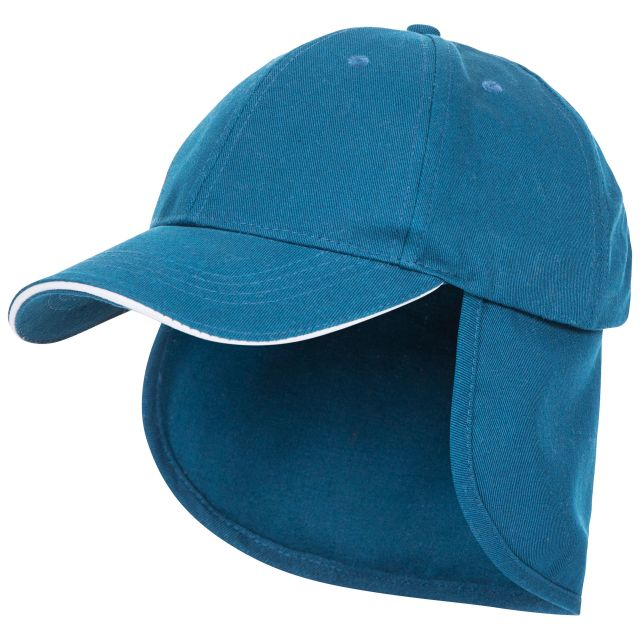 Cabello Kids' Neck Protecting Sun Hat in Blue, Side view of hat