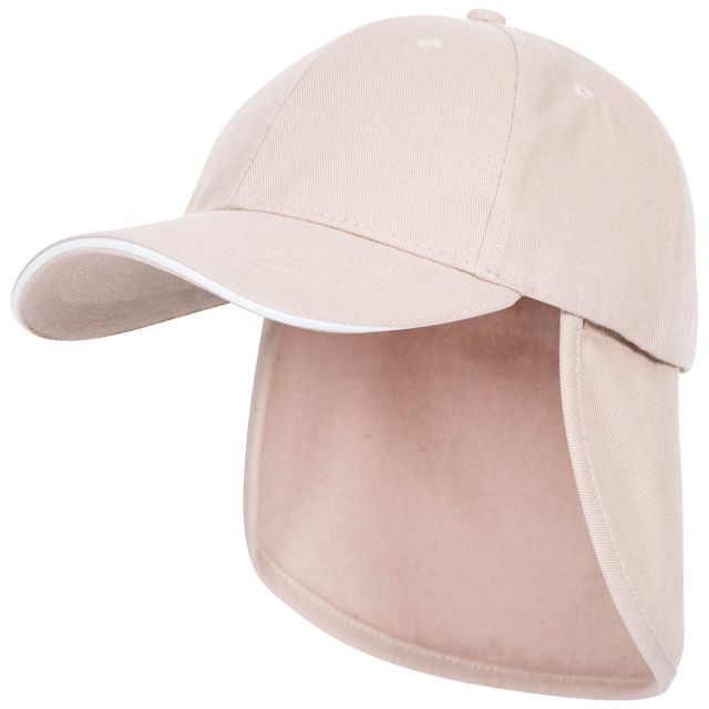 Cabello Kids' Neck Protecting Sun Hat in Beige, Side view of hat