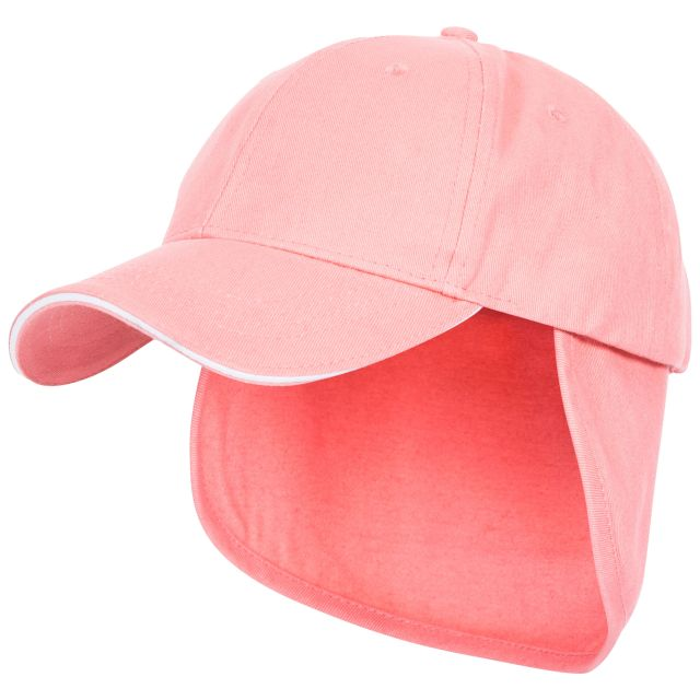 Cabello Kids' Neck Protecting Sun Hat in Pink, Side view of hat