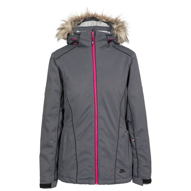Trespass Womens Ski Jacket Waterproof Caitly in Carbon Grey, Front view on mannequin