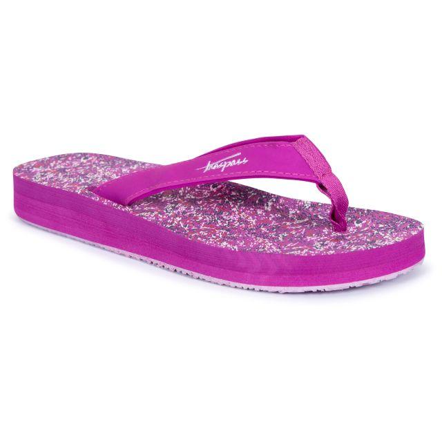 Caladesi Women's Summer Flip Flops in Purple, Front view of footwear