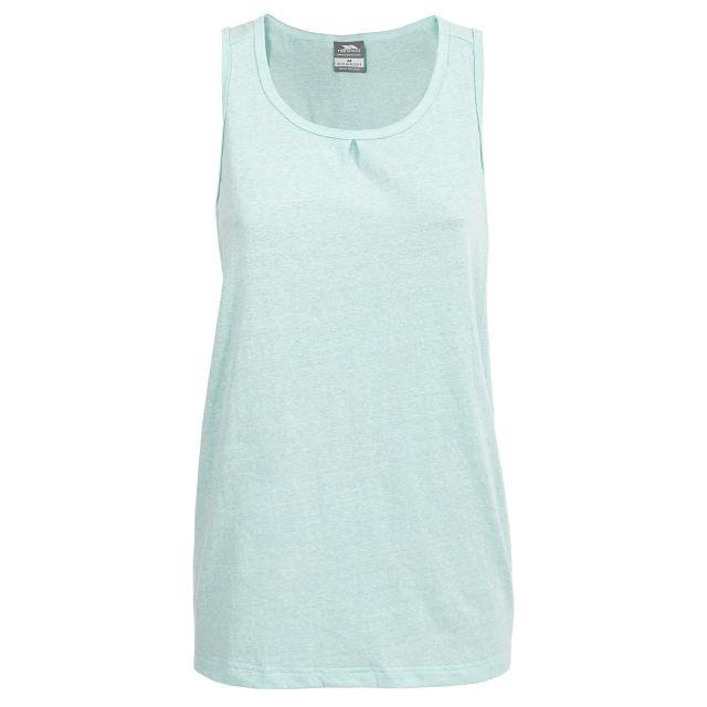 Caldera Women's Sleeveless T-shirt in Light Green, Front view on mannequin