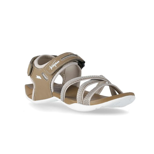 Camello Women's Walking Sandals in Brown, Angled view of footwear