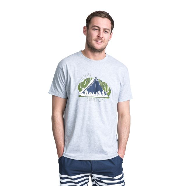 Camp Men's Printed Casual T-Shirt in Light Grey, Back view on model