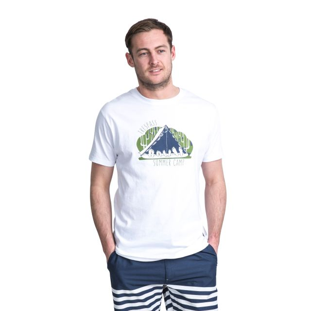 Camp Men's Printed Casual T-Shirt in White