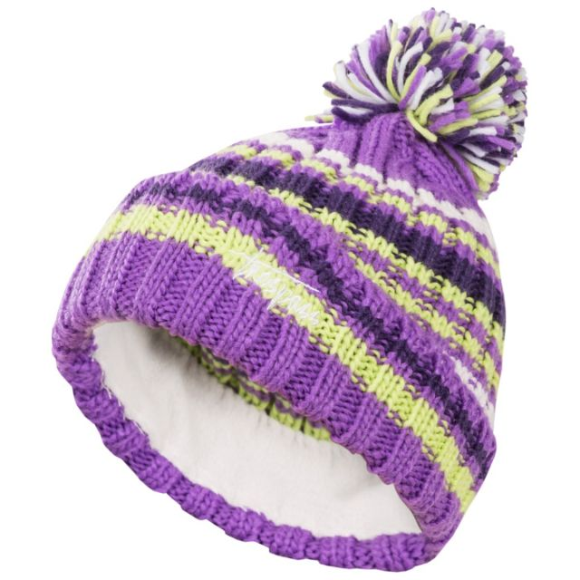 Candy Kids' Bobble Hat in Light Purple, Hat at angled view