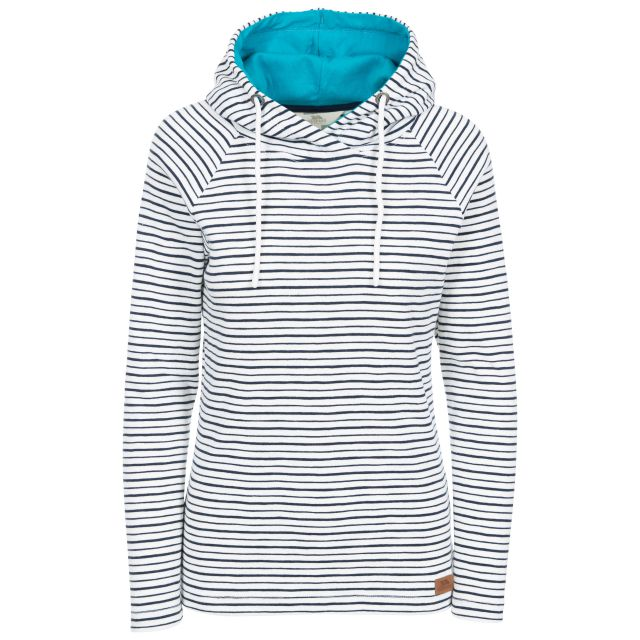 Caramba Women's Pull Over Hoodie in Navy, Front view on mannequin