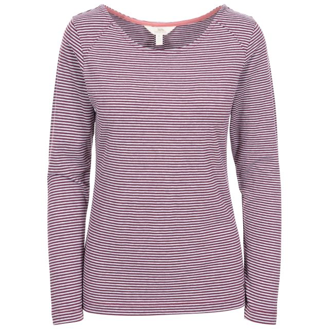Caribou Women's Striped Long Sleeve T-Shirt in Purple, Front view on mannequin