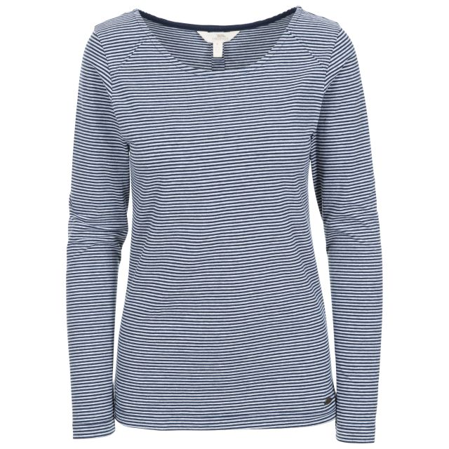 Caribou Women's Striped Long Sleeve T-Shirt in Navy, Front view on mannequin