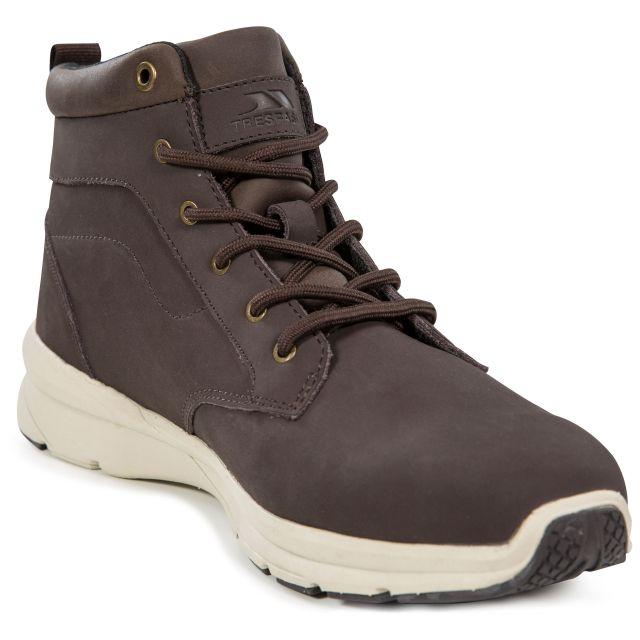 Carlan Men's Lightweight Memory Foam Boots in Brown, Angled view of footwear
