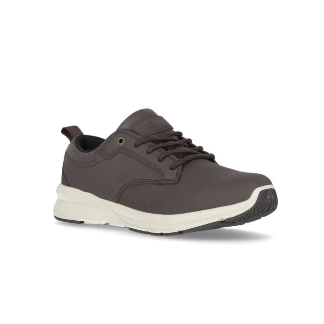 Carlan Men's Memory Foam Trainers in Brown, Angled view of footwear