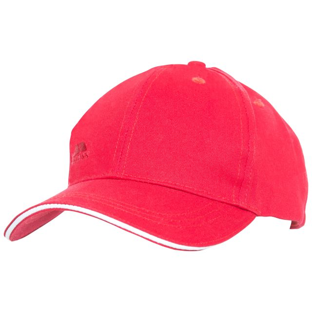 Carrigan Adults' Baseball Cap in Red, Hat at angled view