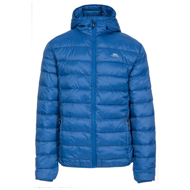 Carruthers Men's Padded Casual Jacket in Blue, Front view on mannequin