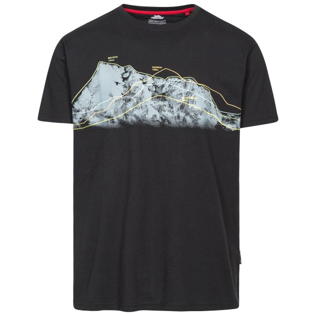 Cashing Men's Printed Casual T-Shirt in Black, Front view on mannequin