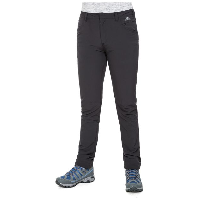 Catria Women's Slim Leg Walking Trousers in Black, Back view on mannequin