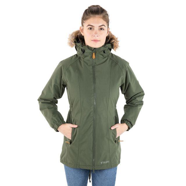 Celebrity Women's Fleece Lined Parka Jacket in Khaki