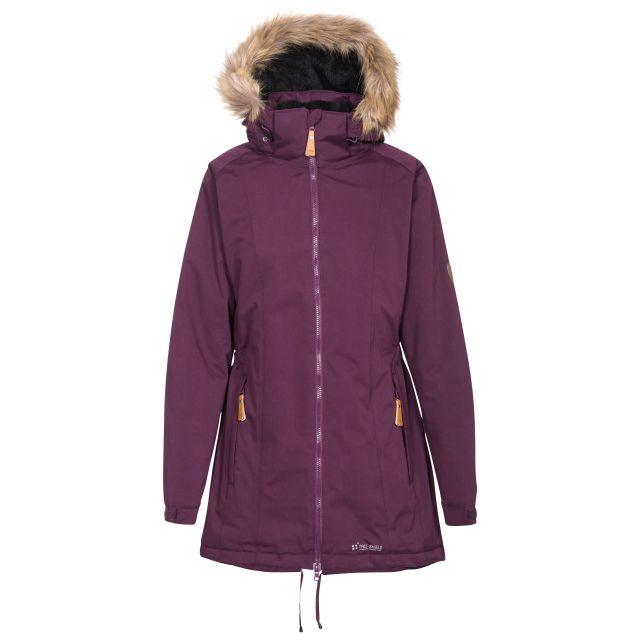 Celebrity Women's Fleece Lined Parka Jacket in Purple, Front view on mannequin