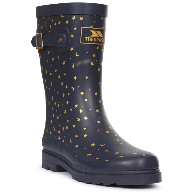 Trespass Women's Printed Welly Boot Celeste Midnight, Angled view of footwear