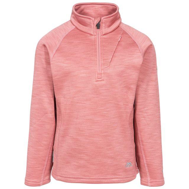 Celina Kids' Half Zip Fleece in Pink, Front view on mannequin