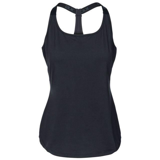 Celise Women's DLX Quick Dry Sleeveless Active T-Shirt in Black, Front view on mannequin