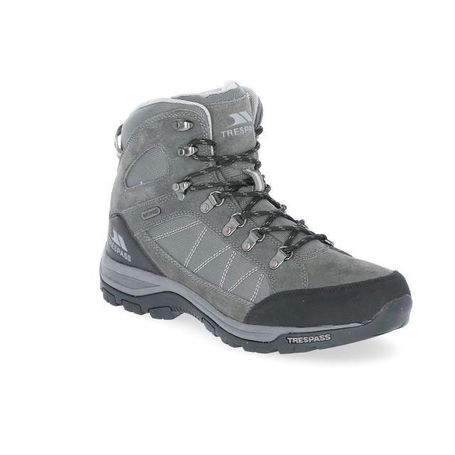 Chavez Men's Waterproof Walking Boots in Grey, Angled view of footwear
