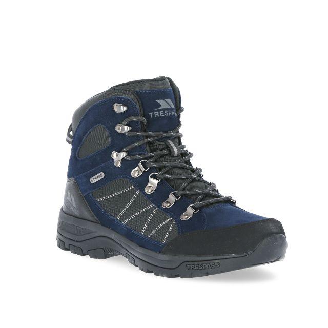 Chavez Men's Waterproof Walking Boots in Navy, Angled view of footwear