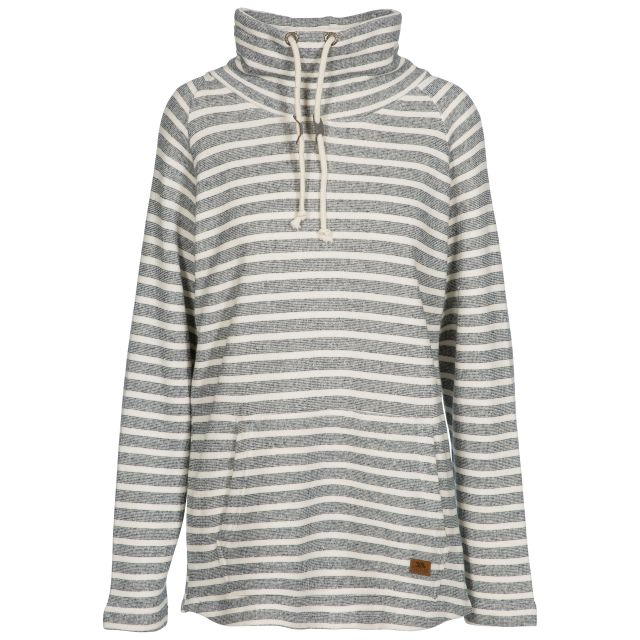 Cheery Women's Striped Pull Over Hoodie in Navy, Front view on mannequin
