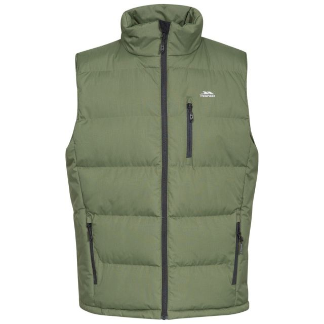 Clasp Men's Padded Gilet in Khaki, Front view on mannequin