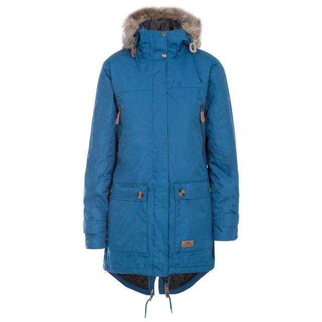 Clea Women's Waterproof Parka Jacket in Blue, Front view on mannequin