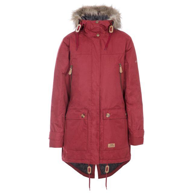 Clea Women's Waterproof Parka Jacket in Red, Front view on mannequin