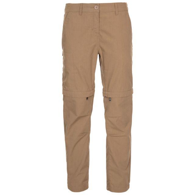 Trespass Women's Adventure UV Trousers Clink Cashew, Front view on mannequin