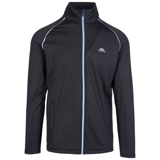 Clive Men's Quick Dry Active Jacket in Black, Front view on mannequin