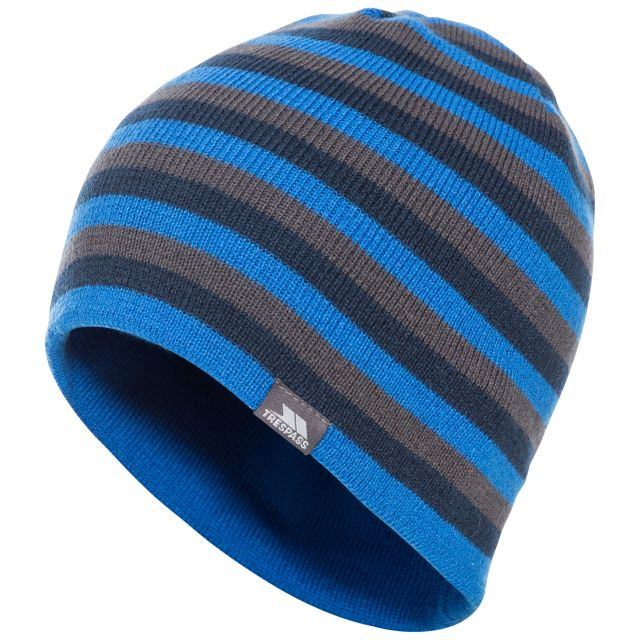Trespass Adults Beanie Hat Striped Lightweight Coaker Blue, Hat at angled view