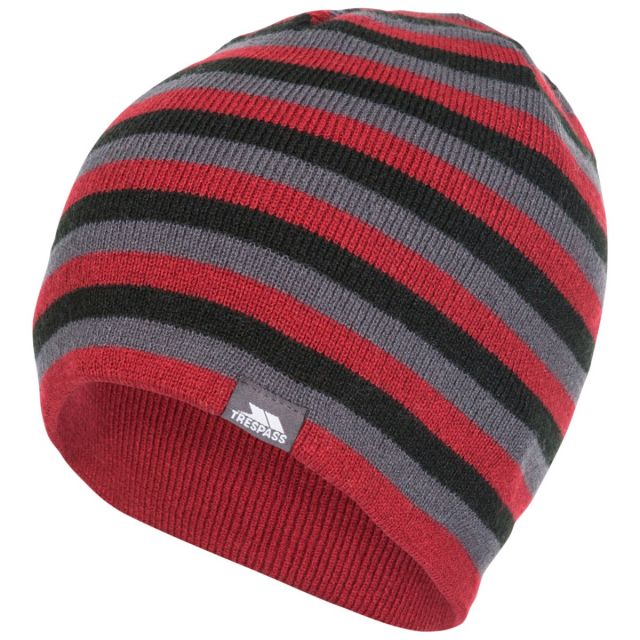Trespass Adults Beanie Hat Striped Lightweight Coaker Merlot, Hat at angled view