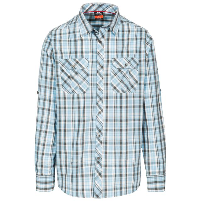 Collector Men's Checked Shirt in Blue, Front view on mannequin